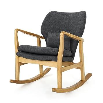 Astonishing Gdf Studio Beryl Mid Century Modern Dark Slate Fabric Rocking Chair Unemploymentrelief Wooden Chair Designs For Living Room Unemploymentrelieforg