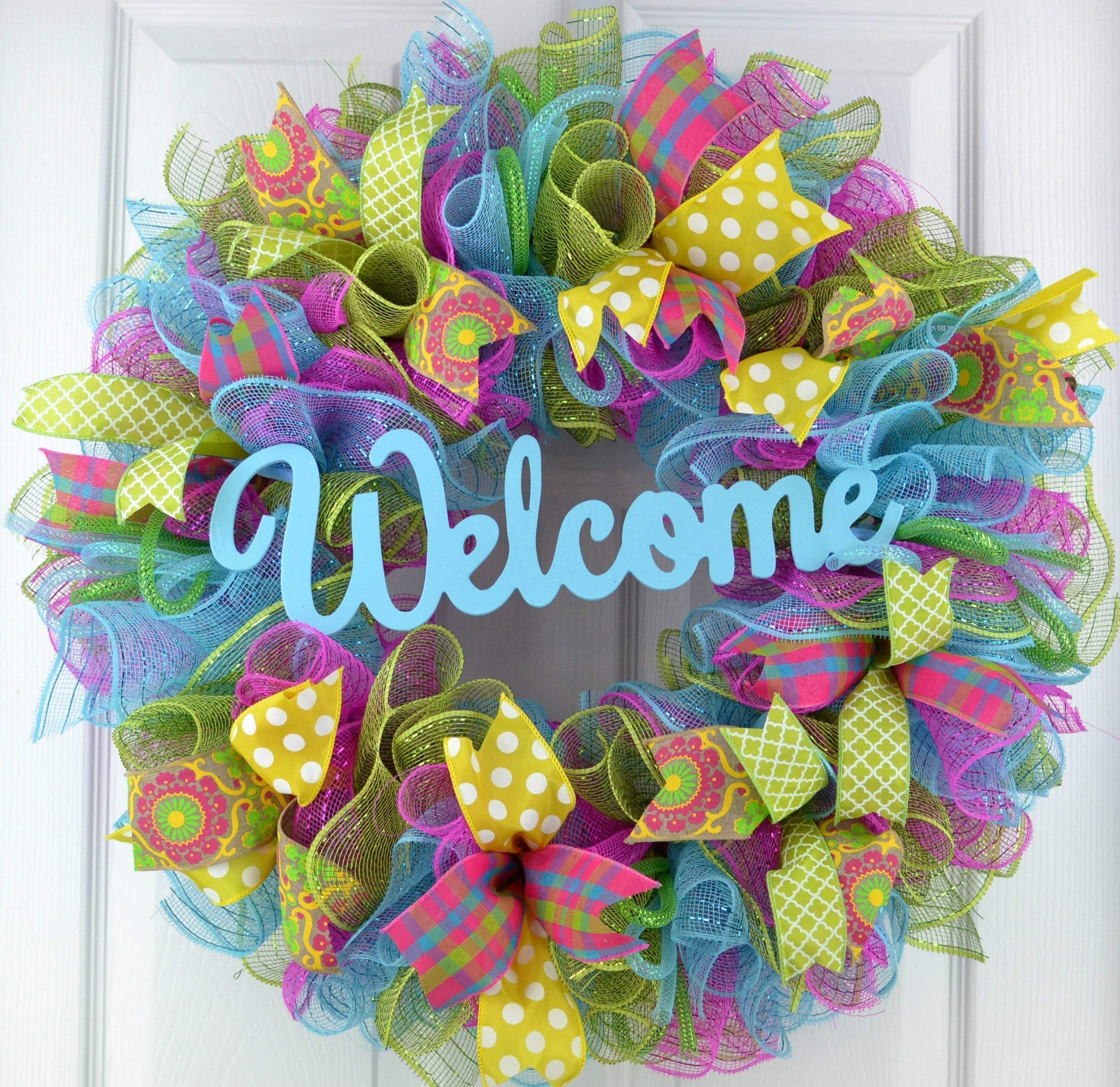 Wreath-for-Summer-Spring-Door-Wreath-Year-Round-Welcome-Wreath-Pink-Turquoise-Yellow-Green-P1