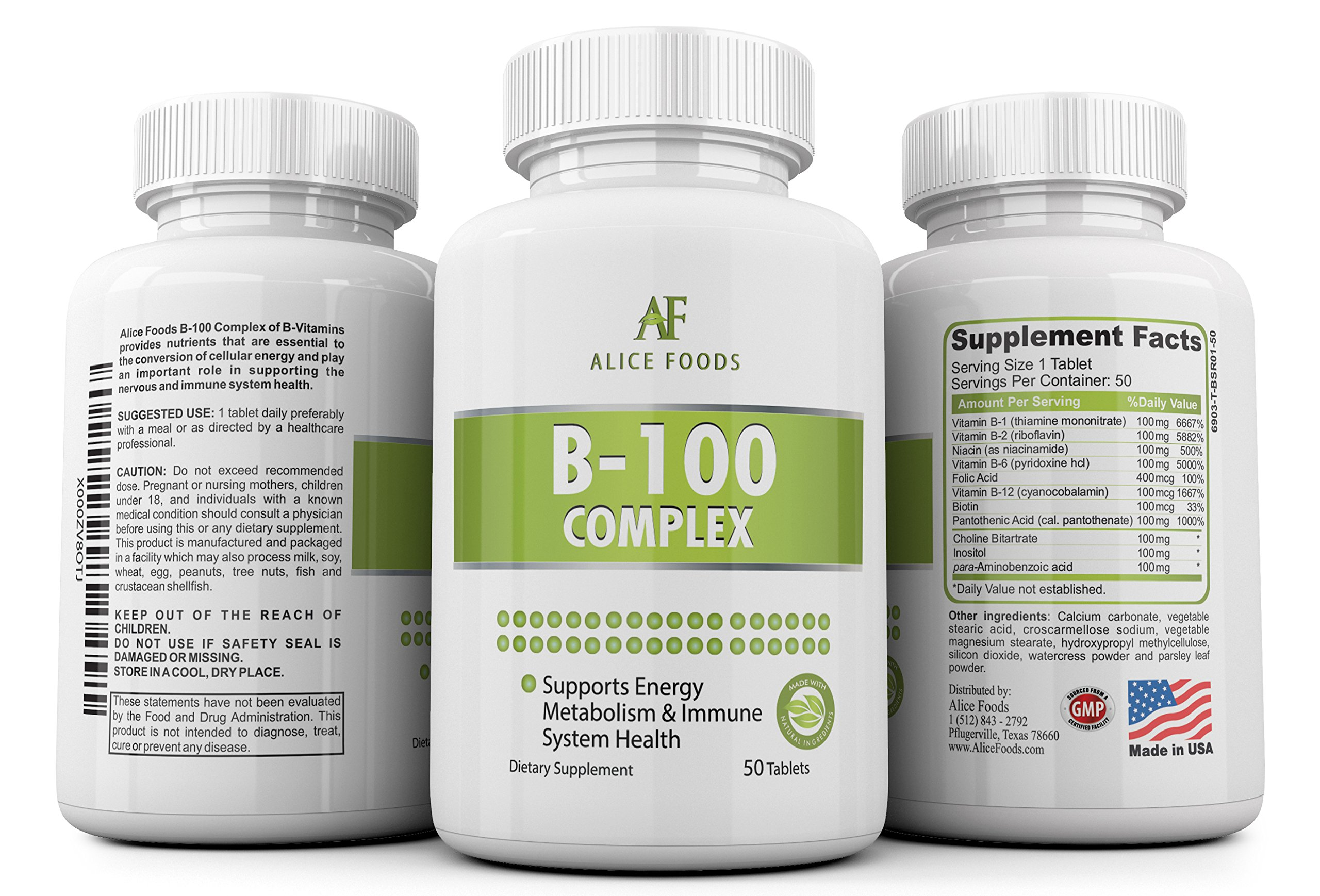 Time Released Vitamin B-100 Complex - 50 Coated Tablets Slow Release by Alice Foods (Image #4)