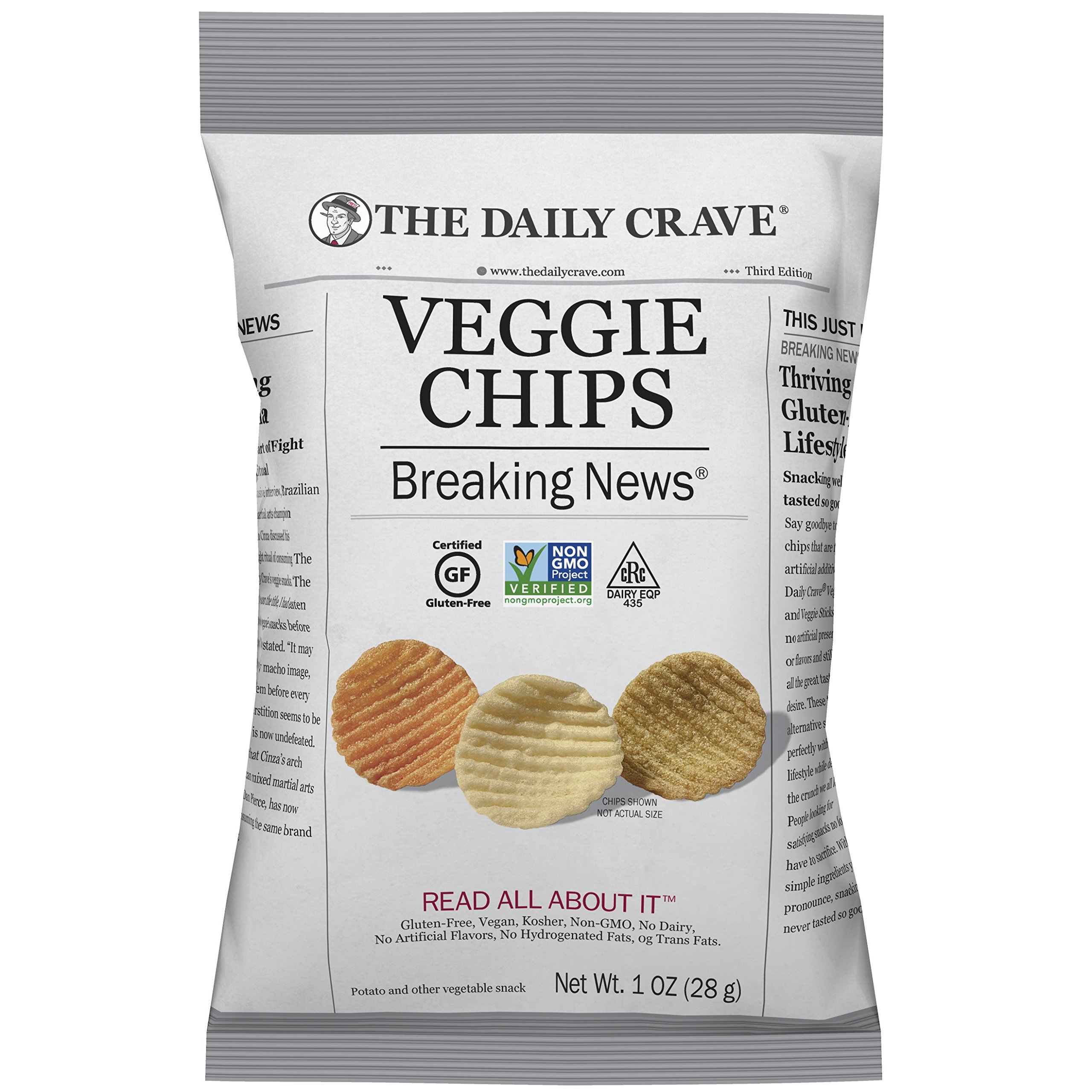 The Daily Crave Veggie Chips, 1 Ounce (Pack of 24)