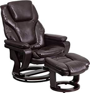 Flash Furniture Contemporary Multi-Position Recliner and Ottoman with Swivel Mahogany Wood Base in Brown LeatherSoft