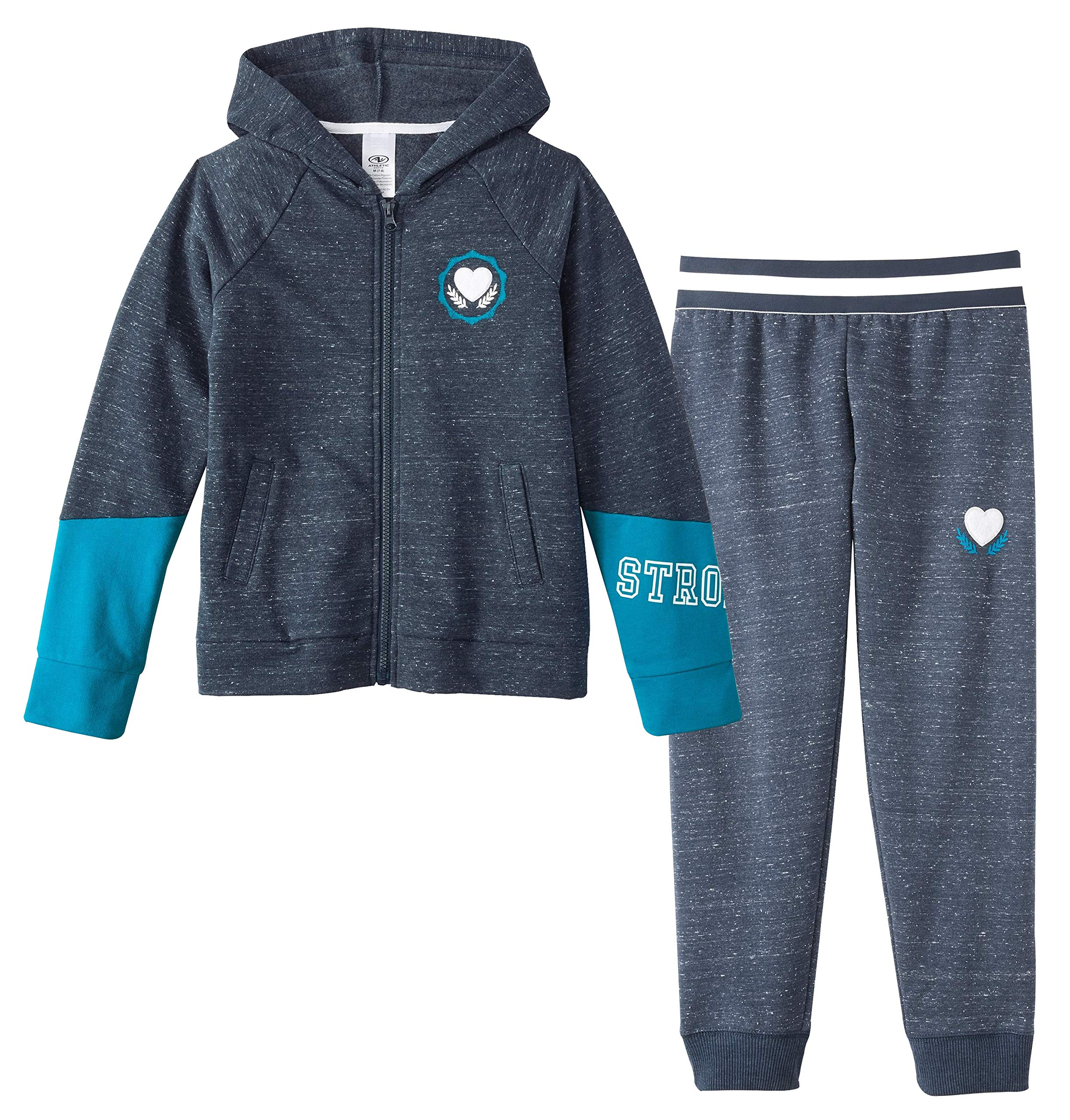 Athletic Works Girls' Color Block Graphic Fleece Hoodie/Joggers Sweatsuit (Blue Cove, X-Large XL, 14/16) by Athletic Works