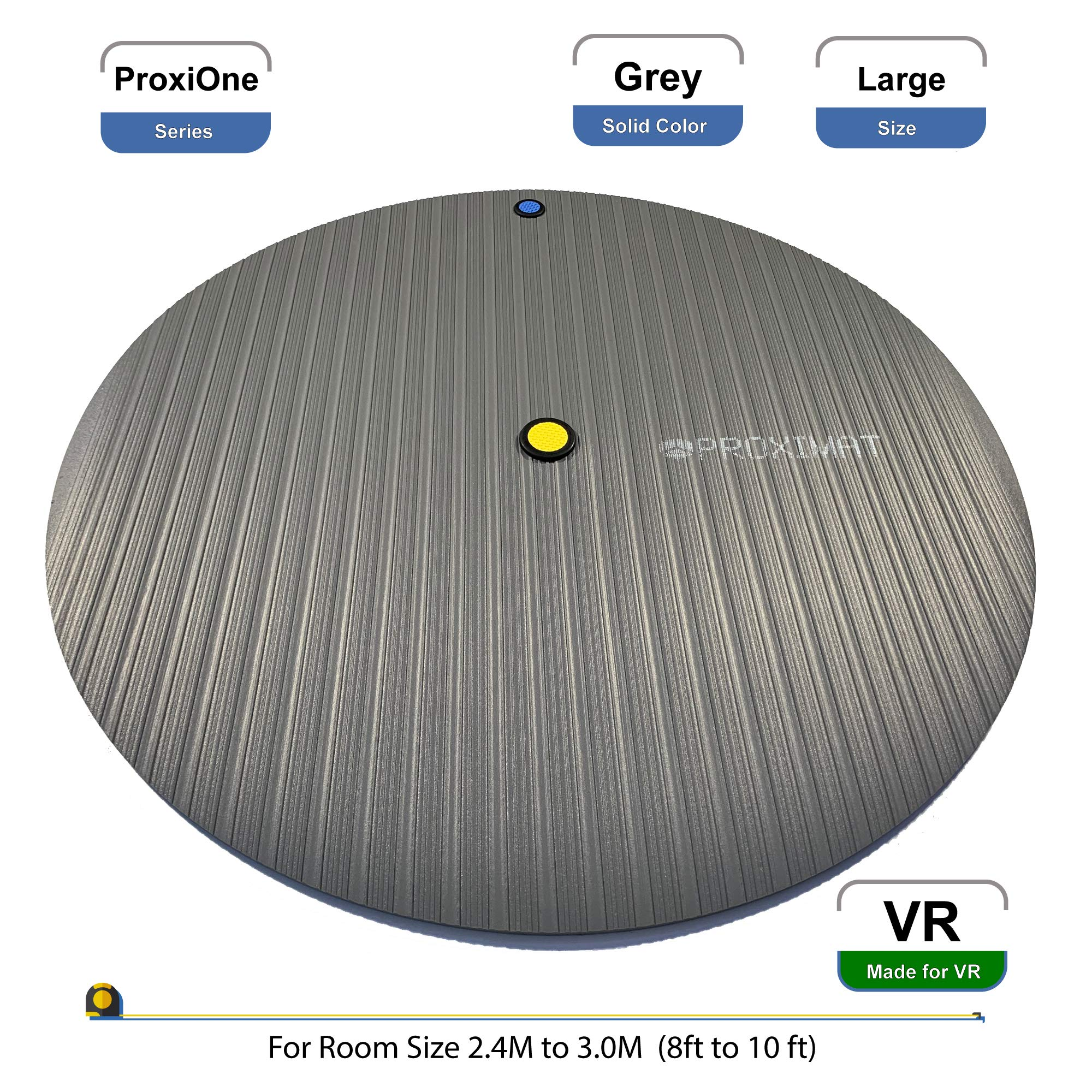 ProxiMat | ProxiOne | Grey | Large | VR Virtual Reality Chaperone Safety Mat | 8' to 10' Room Scale | for HTC Vive, Oculus Rift Quest, Playstation PSVR, Pimax 5K 8K, Valve Index Headset by Proximat