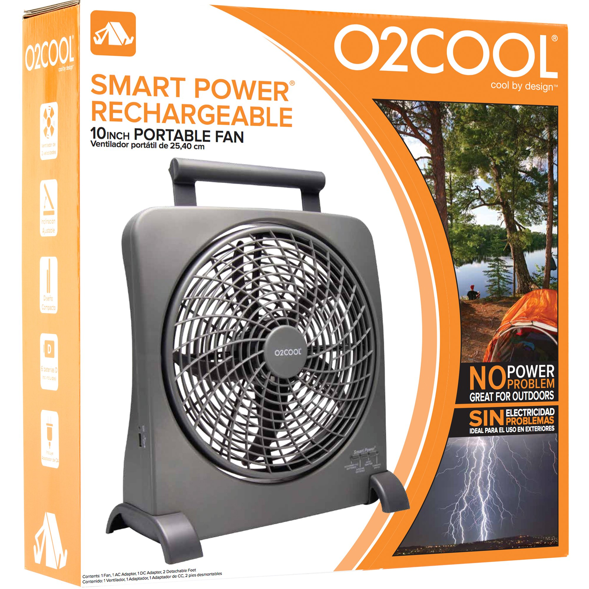 O2COOL 10-Inch Portable Smart Power Fan with AC Adapter & USB Charging Port, 8-D Battery Fan, Cell Phone Charging Fan, 10-Inch Compact Portable Battery Fan, Smart Power, Pivoting Fan Head by O2COOL (Image #4)