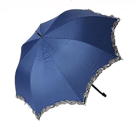 Paraguas grande de mujer, mango fino y de cuero, muy ligero y resistente,