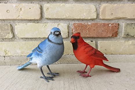 Amazoncom Blue Jay And Red Cardinal Bird Figurines Home Kitchen