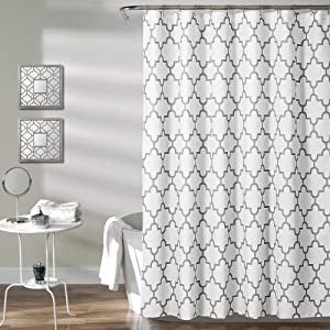 "Lush Decor Gray Bellagio Fabric Shower Curtain, Bathroom Accessories (72"" x 72"")"