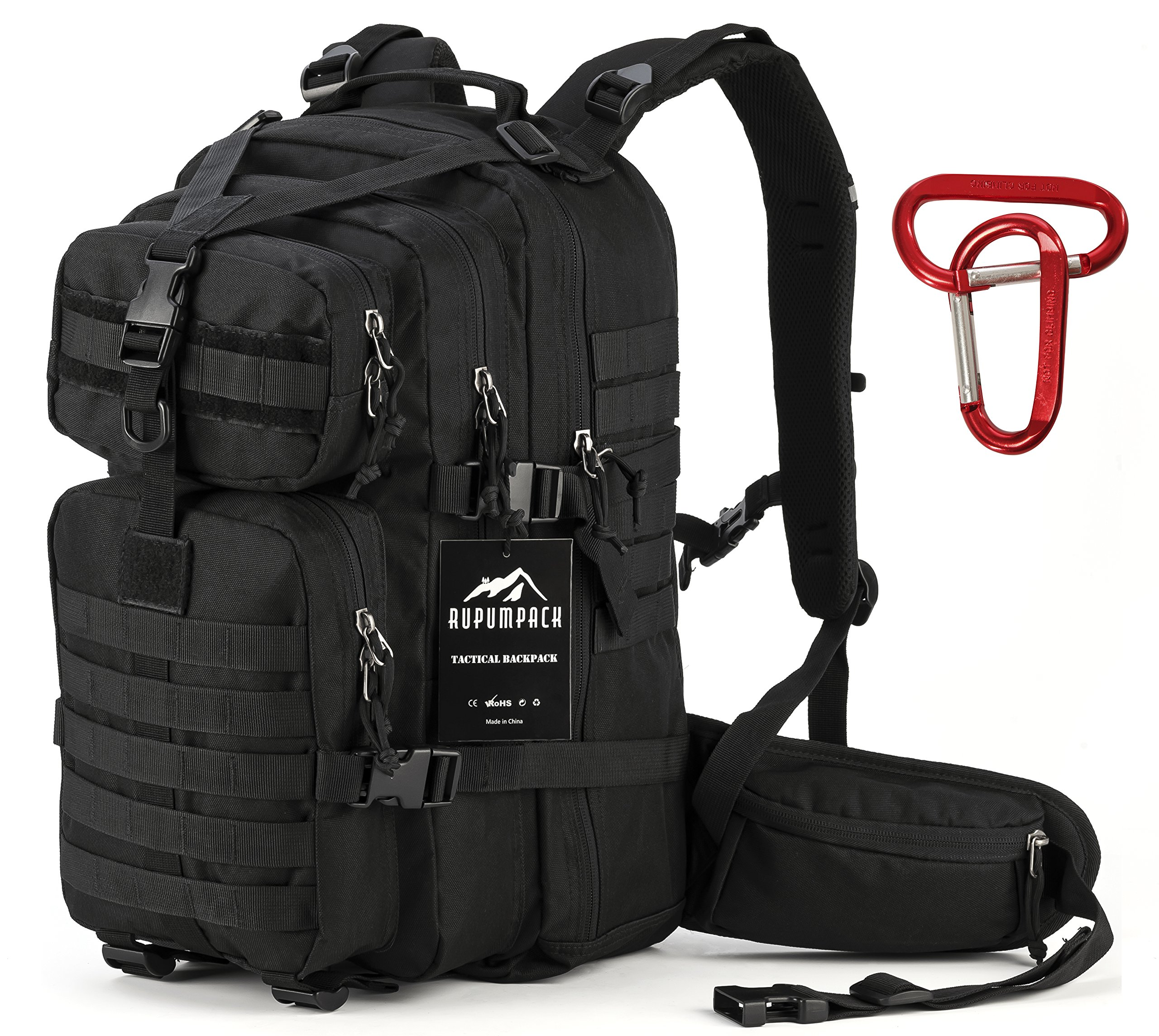 RUPUMPACK 35L Military Tactical Assault Backpack with Aluminium Carabiner Clip, Hydration Compatible Backpack, Army MOLLE Bug Out Bag for Outdoor Hiking Camping Trekking Hunting Daypack, Black by RUPUMPACK