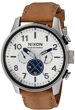 Nixon Mens Safari Dual Time Leather Stainless Steel Swiss-Quartz Watch with Calfskin Strap,