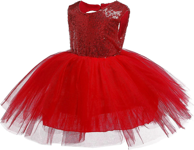 Kokowaii Fancy Toddler Baby Girls Sequin Tutu Dress Girls Pageant Party Dress Flower Girls Dress Red 4-5Y Tag120