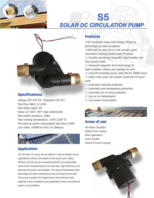 Topsflo 10PV 12 V Energie Solaire eau Chaude Pompe de circulation