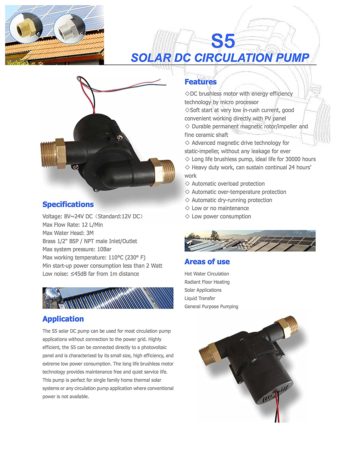 12553963835 COM S5-15PV-Cu - 3 GPM - Food Grade - 12V Solar Hot Water Pump - Can be run  by a 15W solar panel  Home Improvement