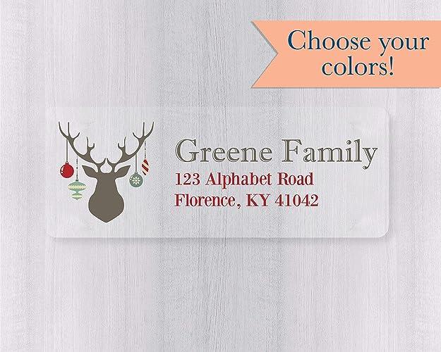 Christmas Return Address Labels.Amazon Com 60ct Christmas Address Labels Clear