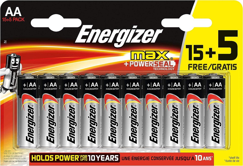 Energizer - Pack de 20 Pilas alcalinas MAX LR6 AA, 50% más de ...