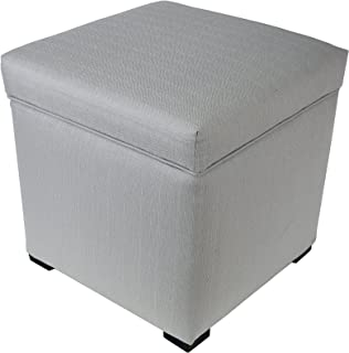 """product image for MJL Furniture Designs Mini Upholstered Lift Top Shoe Storage HJM Series Ottoman, Silver, 18.5"""" x 19"""" x 19"""""""