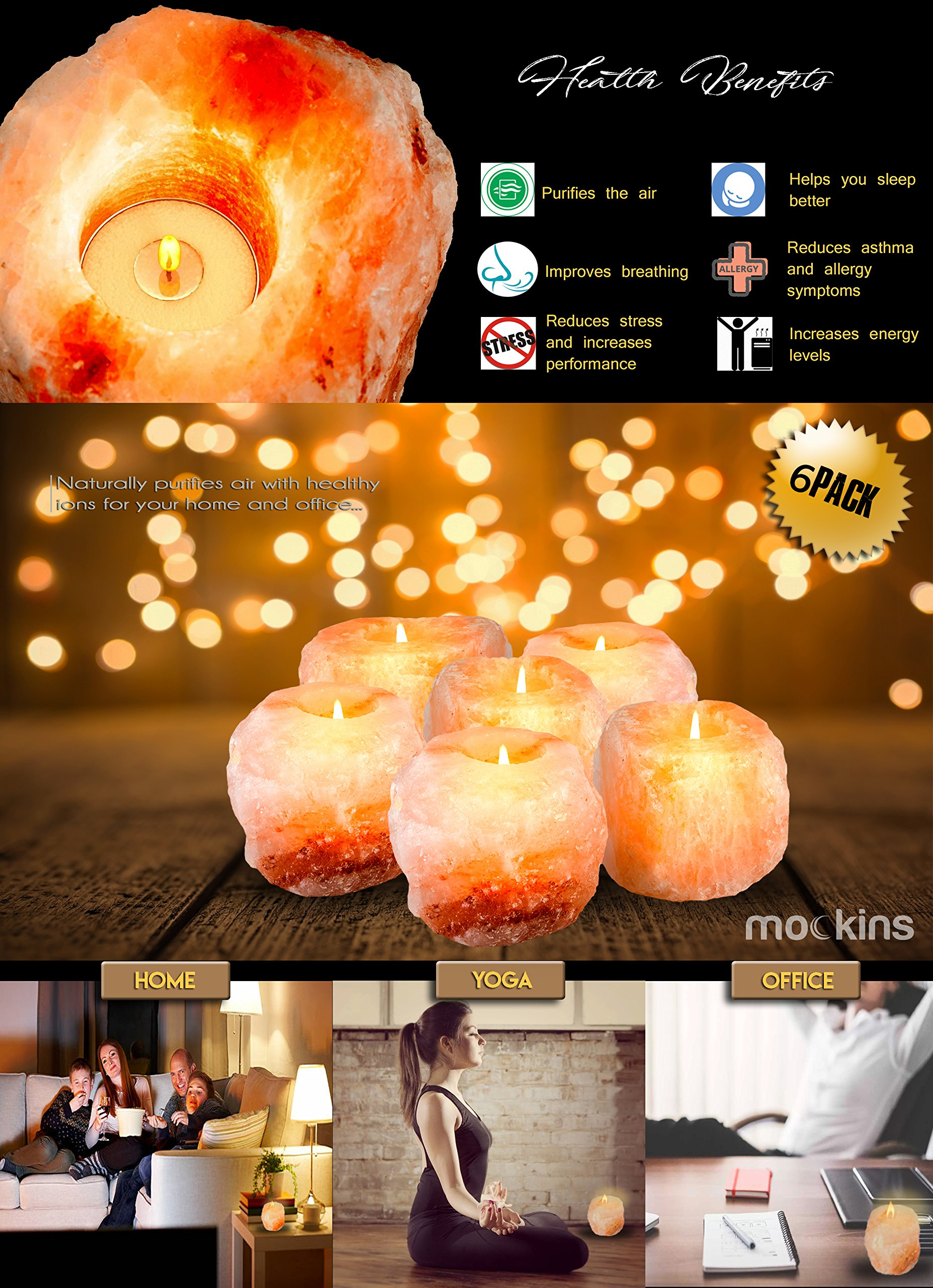 Mockins 6 Pack Natural Himalayan Salt 2.5-lbs Tea Light Holder … by Mockins (Image #4)