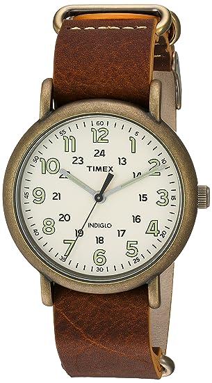 Timex Reloj de Hombre Cuarzo analógico Correa de Cuero Caja de latón TW2P85700: Amazon.es: Relojes