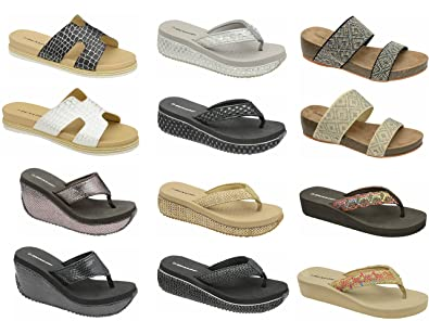 1fefe778c70f10 Image Unavailable. Image not available for. Colour  Dunlop Womens Sandals  Platform Wedge Flip Flops
