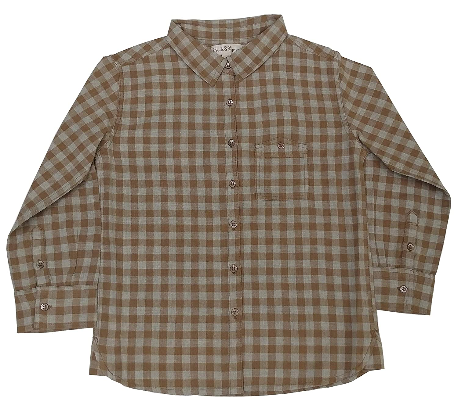 Pearls /& Popcorn Boys Brown Checkered Button Down Dress Shirt