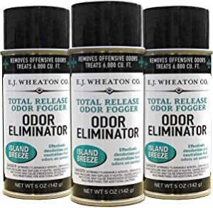 E.J. Wheaton Co. Odor Eliminator, Total Release Odor Fogger, 3 Pack, Effectively Deodorizes and Neutralizes Foul Odors on Contact, Island Breeze (5 OZ)…