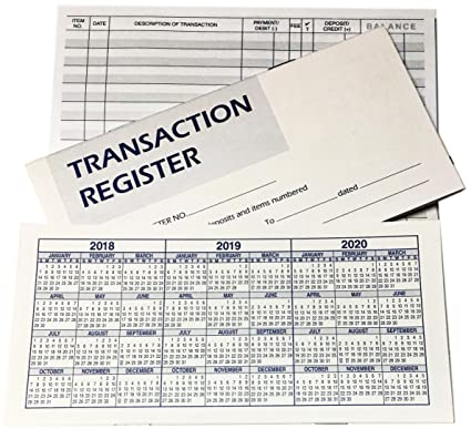 checkbook transaction registers with 2018 19 20 calendars set of 5