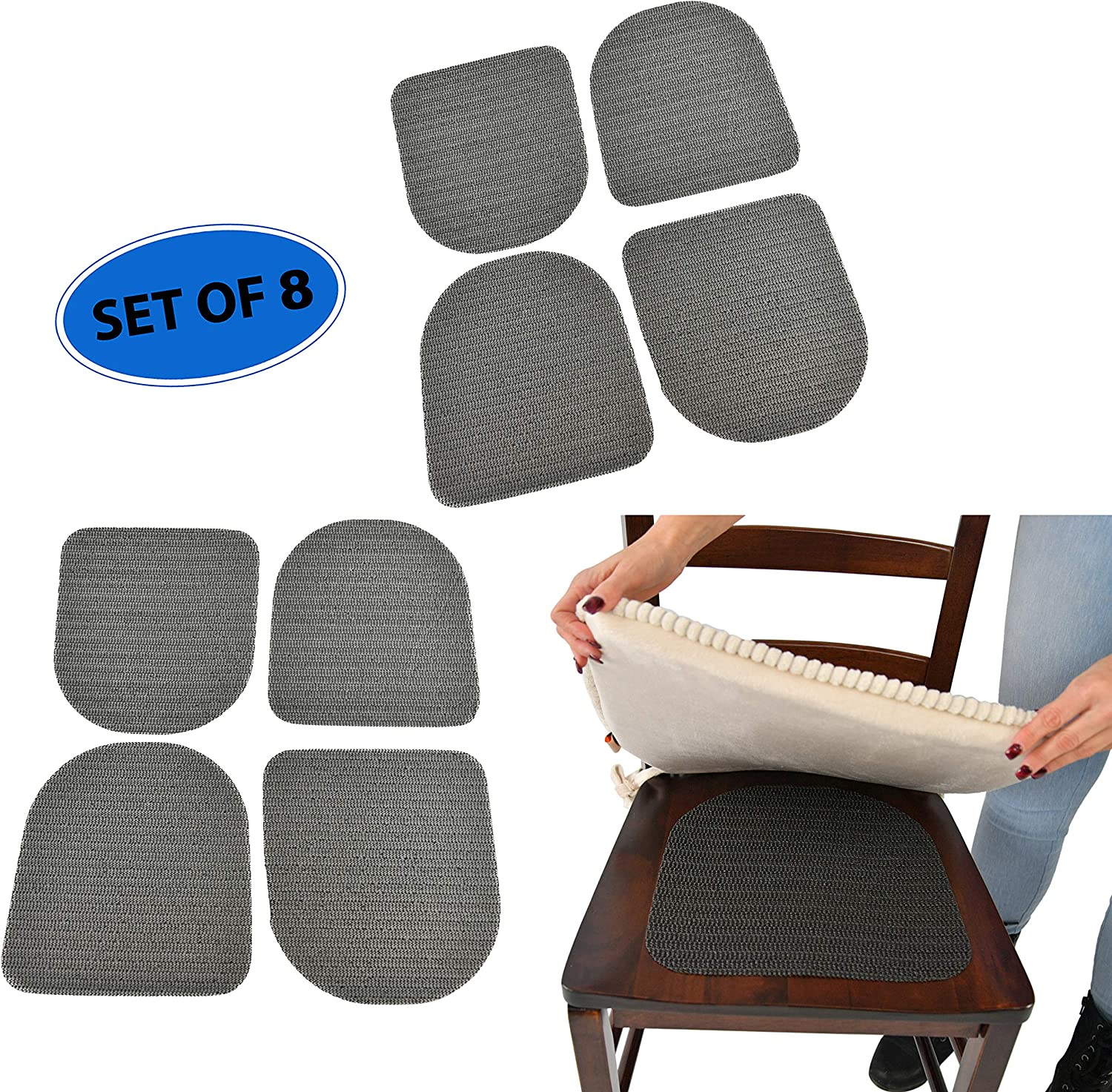 Home-X Furniture Seat Pads with Grip, 3 Patio and Kitchen Chair Non-Slip  Traction Mats