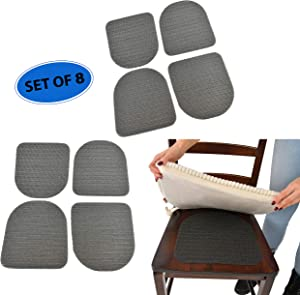Home-X Furniture Seat Pads with Grip, 8 Patio and Kitchen Chair Non-Slip Traction Mats