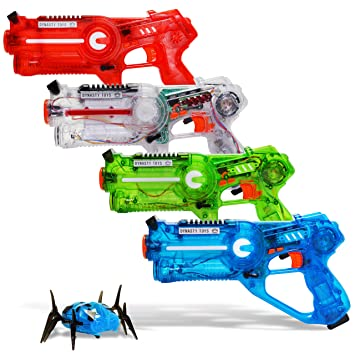 Dynasty Laser Tag Set for Kids, Extreme Multiplayer Pack (4 Blasters with  Robot Bug)