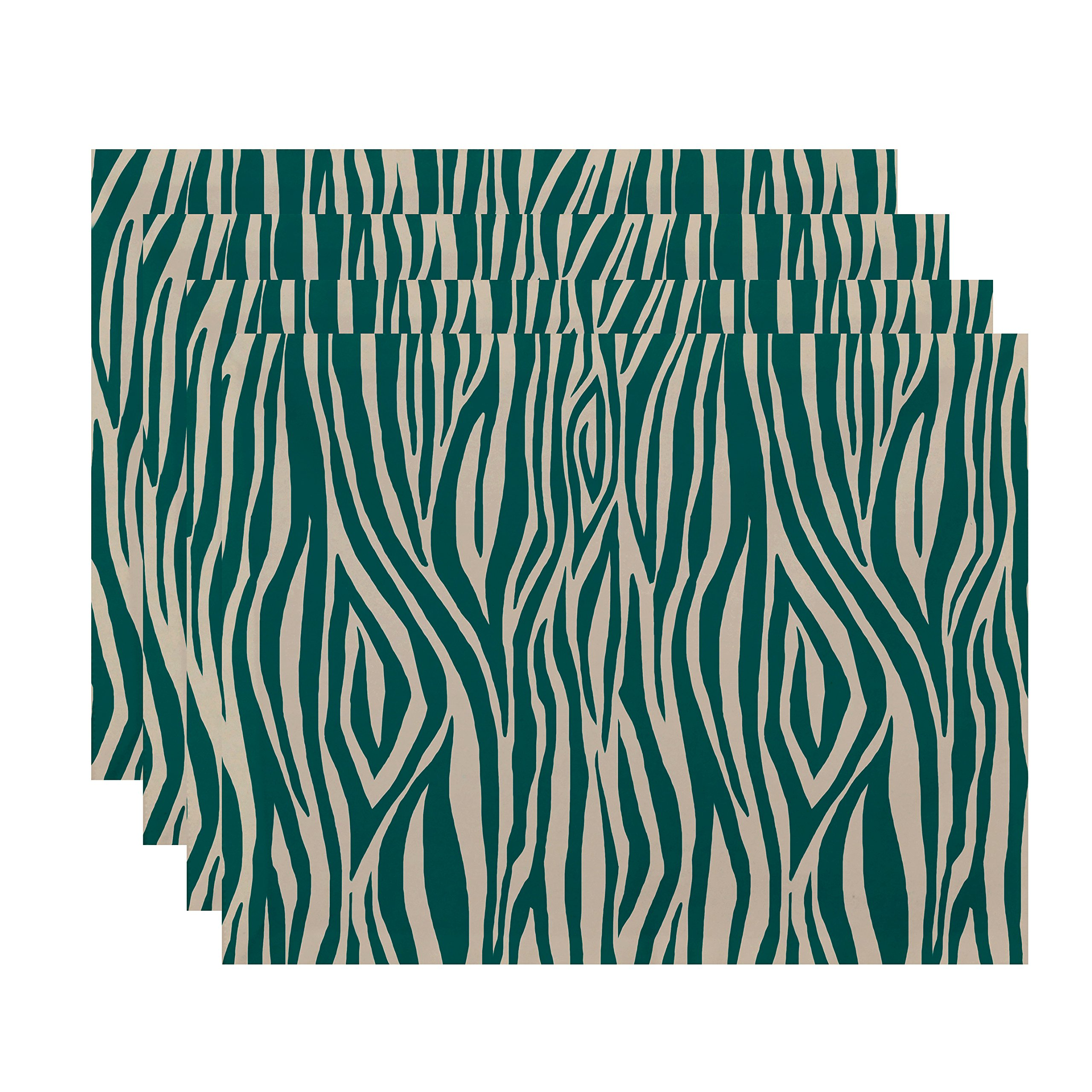 E by design PT4GN722GR31IV5 18x14, Wood Stripe, Geometric Print Placemat, Jade, (Set of 4)
