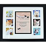 """Pet Memorial Collage Frame - 11x14"""" Picture Frame w/ Sympathy Poem For Dog or Cat - Loss of Pet Gift - Includes Mat w/ Poem & six - 3 x 2.75"""" Openings for Photos. No Hardware to Install - Easy to Hang"""