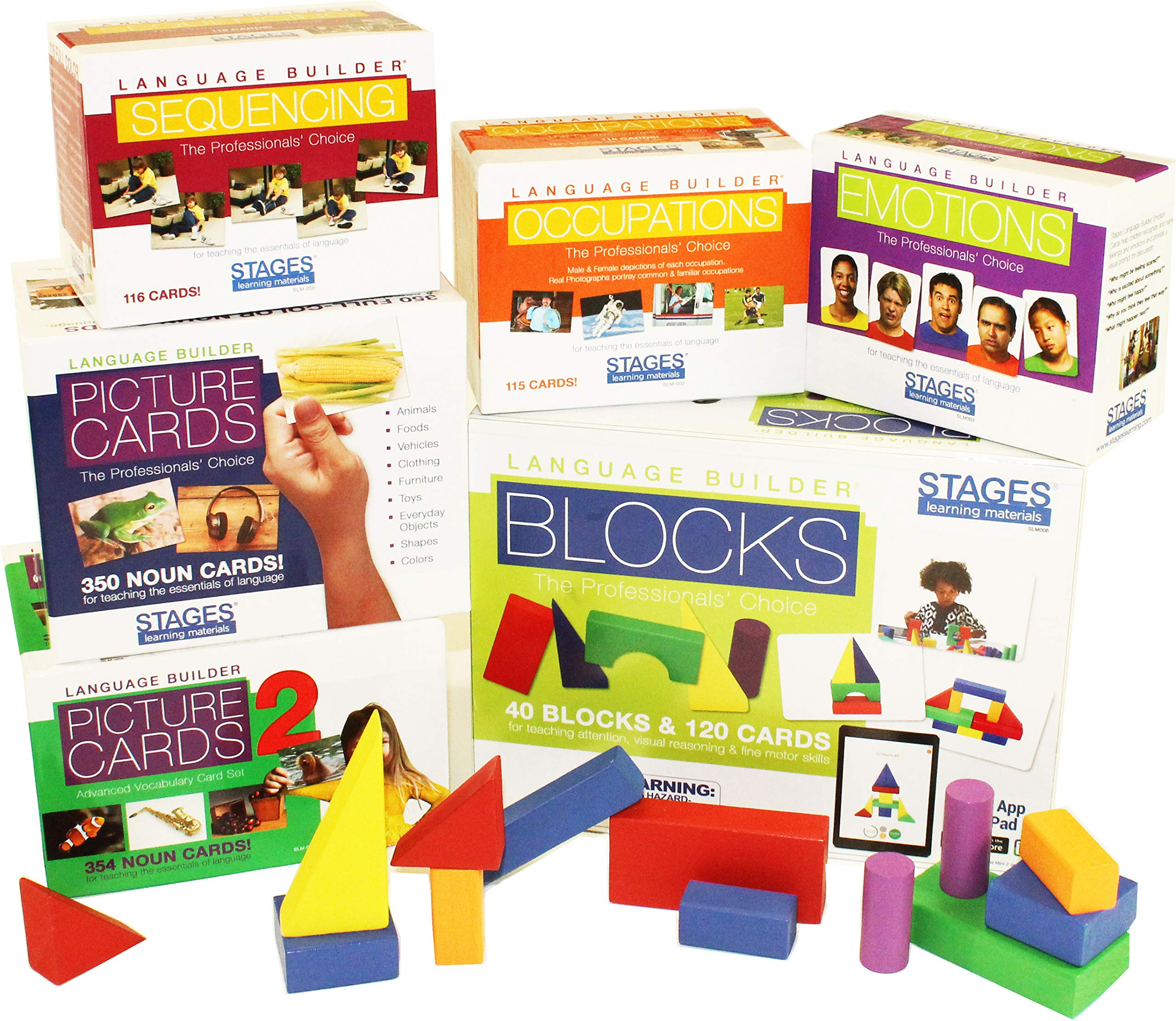 Stages Learning Materials Language Builder Picture Noun Flash Cards Photo Vocabulary Autism Learning Products, ABA Therapy 6 Boxes, 980 Cards, Blocks by Stages Learning
