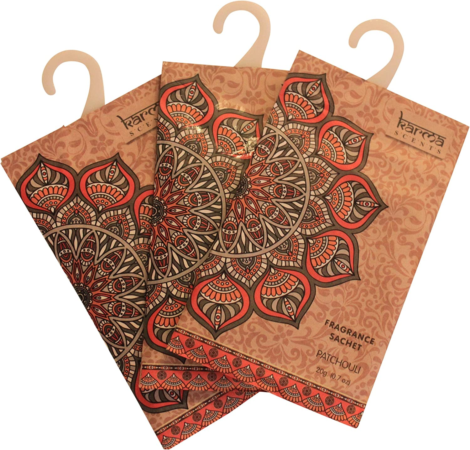 Premium Patchouli Scented Sachets for Drawers, Closets and Cars, Lovely Fresh fragrance, Lot of 12 Bags, By Karma Scents