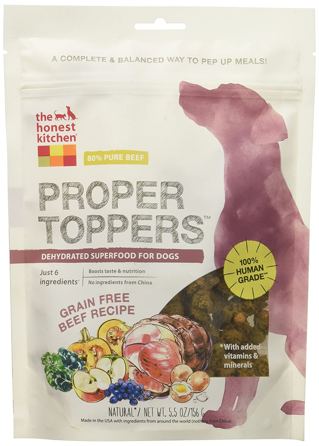Honest Kitchen The Proper Toppers: Natural Human Grade Dehydrated Dog  Superfoods, Grain Free Beef 5.5 Oz: Pet Supplies: Amazon.com