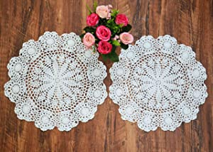 TOSEEY 15 Inch Round Crochet Doilies Lace Doily 100% Cotton Handmade Doilies, Set of 2 Pieces,Flower, Beige/White (white)