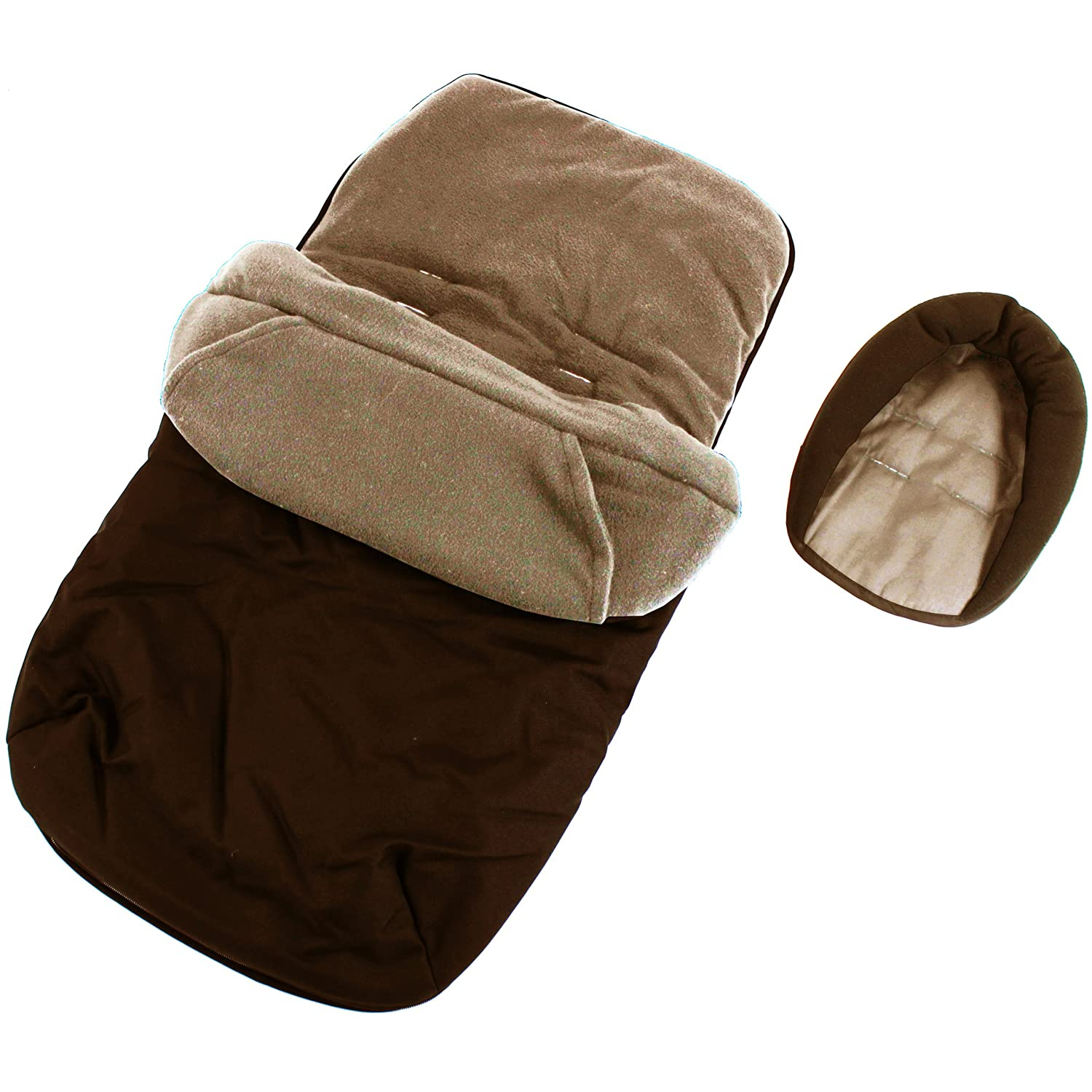 3 In 1 Luxury Padded With Pouches Footmuff Liner And Baby Head Hugger Fits Any Stroller Pram Or Buggy - Hot Chocolate Brown Baby Travel®