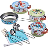 Wobbly Jelly - 'Woodland Animals' Kids Kitchen Set - 11 pc Toy Pots and Pans Set for Kids - Toy Kitchen Accessories