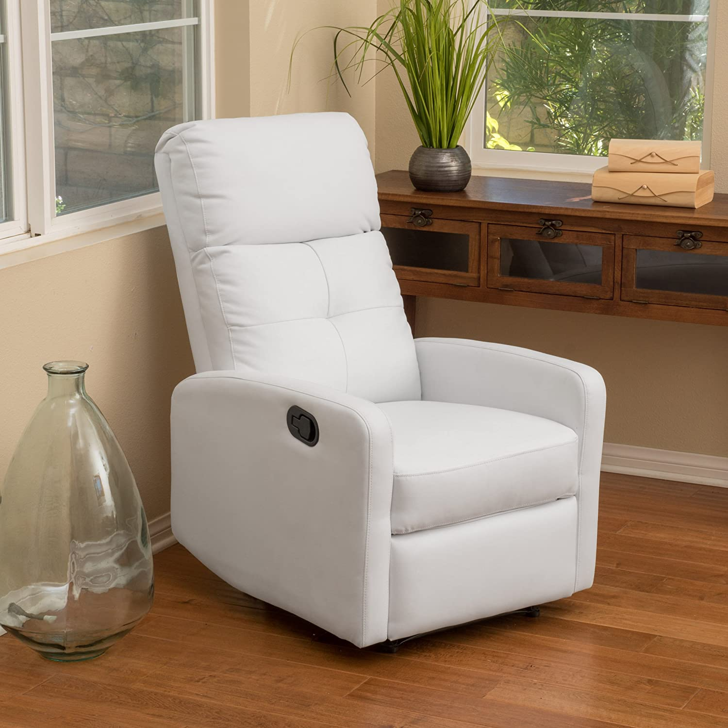 amazon com teyana white leather recliner club chair kitchen dining