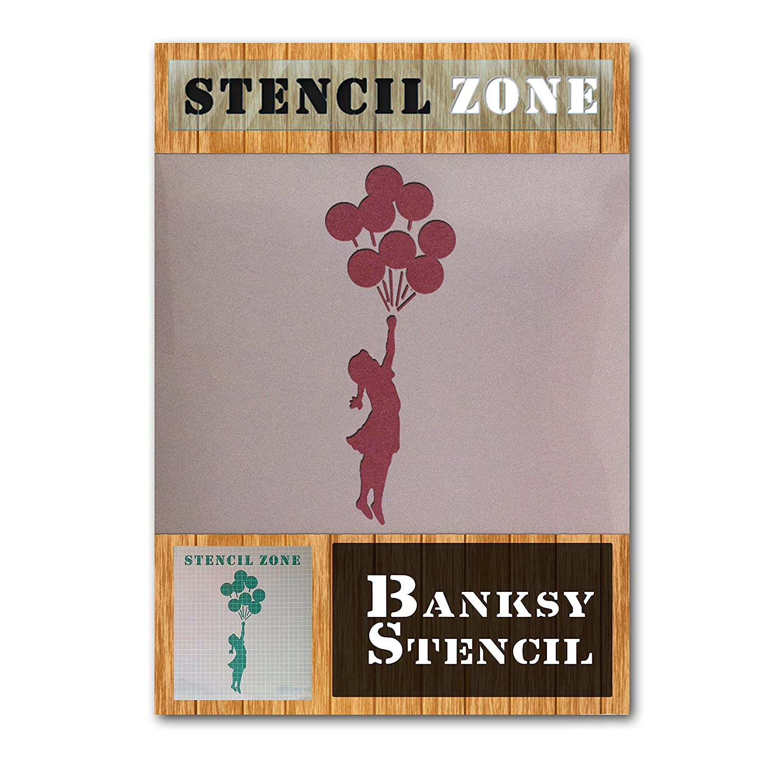 banksy girl with bunch balloons bespoke mylar airbrush painting wall art stencil (A4 Size Stencil - Small) STENCIL ZONE