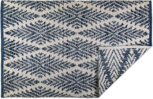 DII CAMZ10422 Indoor Flatweave Cotton Handloomed Yarn Dyed Woven Reversible Area Rug for Bedroom, Living Room, Kitchen, 2×3 , Diamond Navy Blue