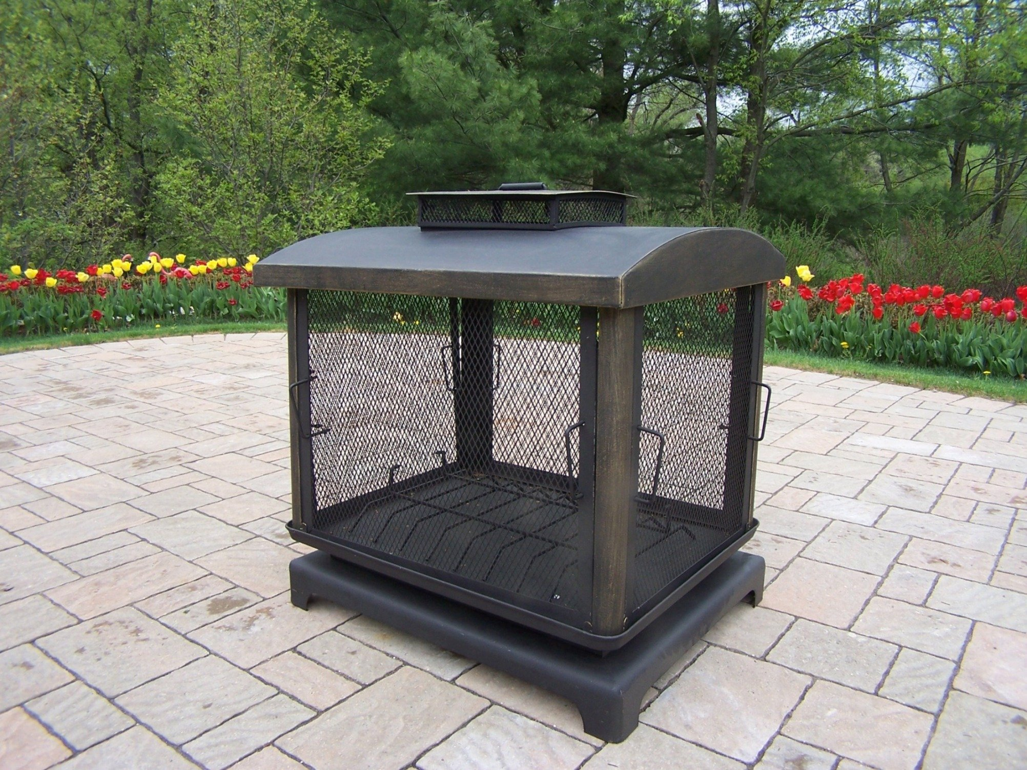 Oakland Living Outdoor Fire Place - Durable Copper and Cast Iron Construction Hardened Powder Coat Finish in Black for Years of Beauty Easy to Follow Assembly Instructions and Product Care Information - patio, fire-pits-outdoor-fireplaces, outdoor-decor - 914%2BPOLr4bL -