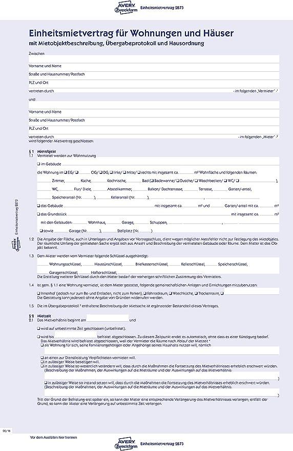Einheitsmietvertrag für Wohnungen und Häuser mit Übergabeprotokoll /& Hausordnung