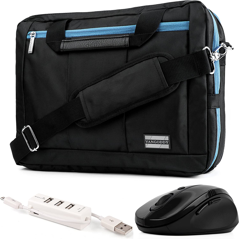 "Blue Convertible Laptop Bag, Mouse, USB Hub for Acer Aspire Spin Swift ChromeBook V Nitro Predator 14"" to 15.6 inch"