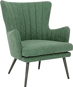 OSP Home Furnishings Jenson Mid-Century Modern Accent Arm Chair, Green Fabric