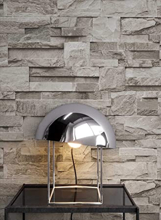 Steintapete Vliestapete Grau , schöne edle Tapete im Steinmauer Design ,  moderne 3D Optik für Wohnzimmer, Schlafzimmer oder Küche inklusive der ...