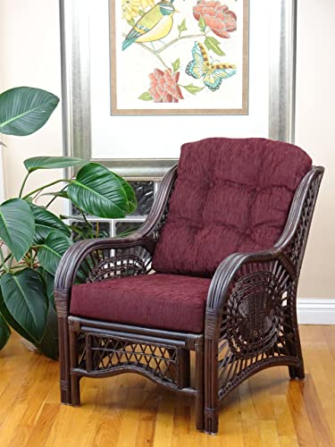 Malibu Lounge Armchair Natural Rattan Wicker Design with Dark Brown Cushion, Dark Brown