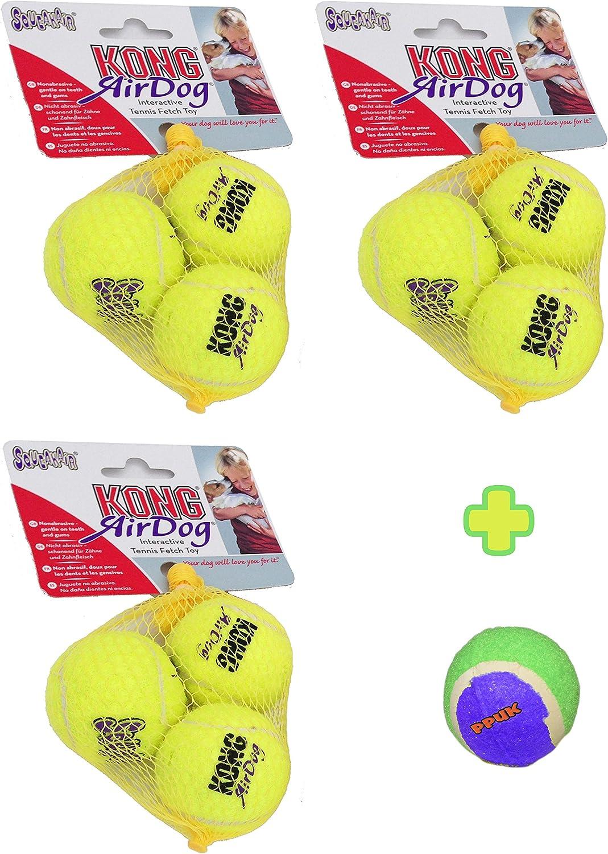 Pets Playground Uk 9 pelotas de tenis Kong SqueakAir pequeñas + 1 ...