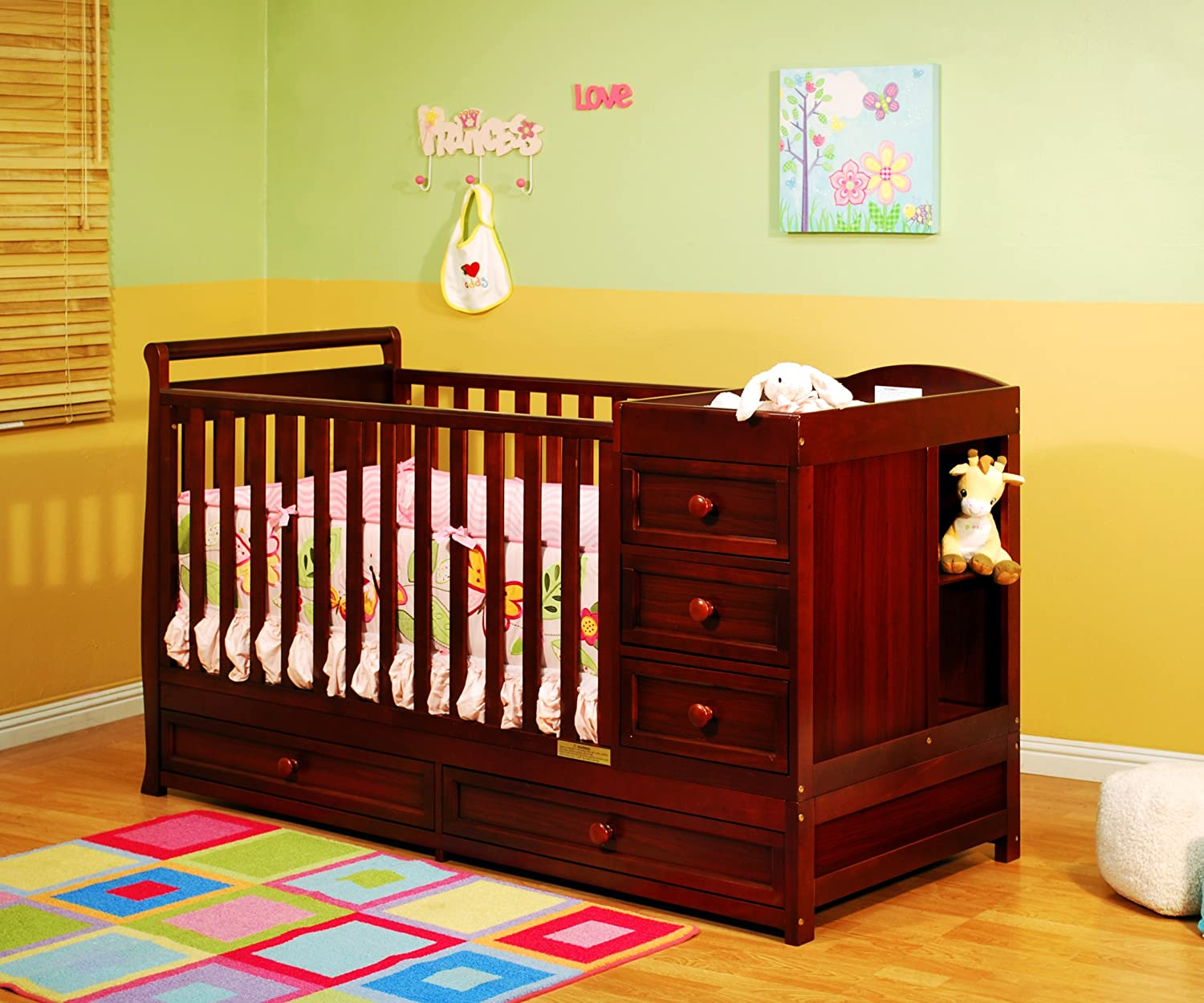Athena Daphne Convertible Crib and Changer, Cherry