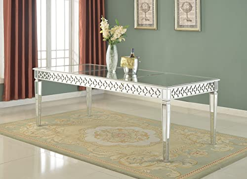 Best Master Furniture Sophie Contemporary Mirrored Dining Table, Silver