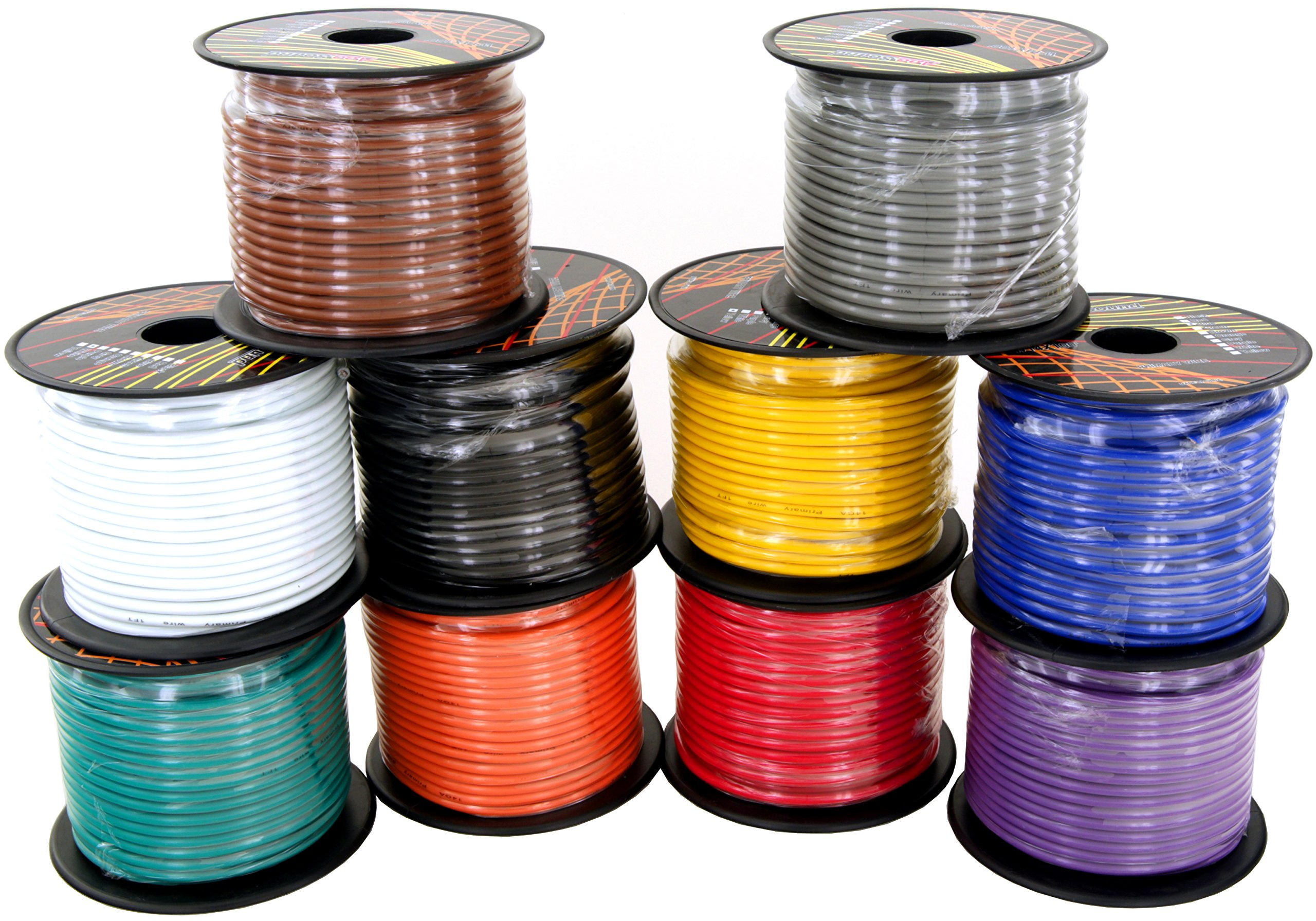 GS Power 14 Gauge Copper Clad Aluminum Primary Cable in 10 Colors Roll Combo Pack | 100 ft per Roll (1000 Feet of Total Wire) | Also Available in 4 & 6 Rolls Color Set