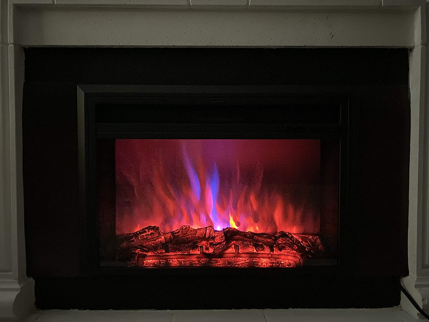 XBrand Insert Fireplace Heater w/Remote Control and LED Flame Effect, 25 Inch Long, Black